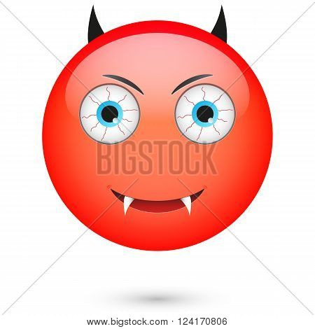 Devil emoticon. Isolated vector illustration on white background