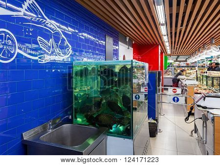 SAMARA RUSSIA - MARCH 29 2016: Live fish ready for sale in the supermarket Perekrestok. One of largest food retailer in Russia