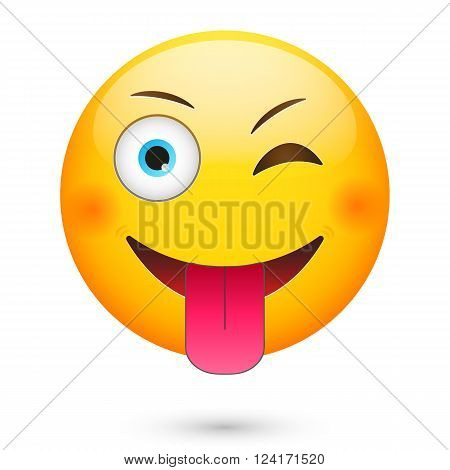 Emoticon wink and show tongue. Isolated vector illustration on white background