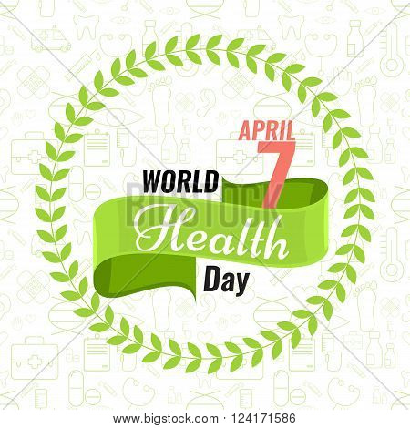 Creative sign or logo for 7 April - World Health Day Greeting stock vector. Green ribbon banner. Solid flat color design for Health Day concept. Seamless trendy outline medical icons
