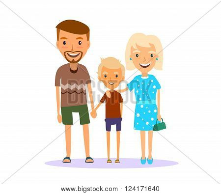 smiling family of mother father and son are in a summer dress in shorts and t-shirt dress.Vector illustrations. EPS 10