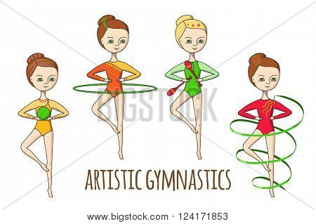 4 girls in gymnastics leotards perform the exercises with ribbon, Hoop, ball and clubs.