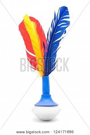 colorful indiaka toy isolated on white closeup