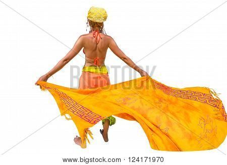 Fashionable woman dressed in yellow color does fly his sarong. Isolated on white background.