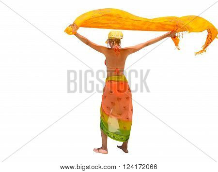 Happy and fashionable woman dressed in yellow color does fly his sarong. Isolated on white background.