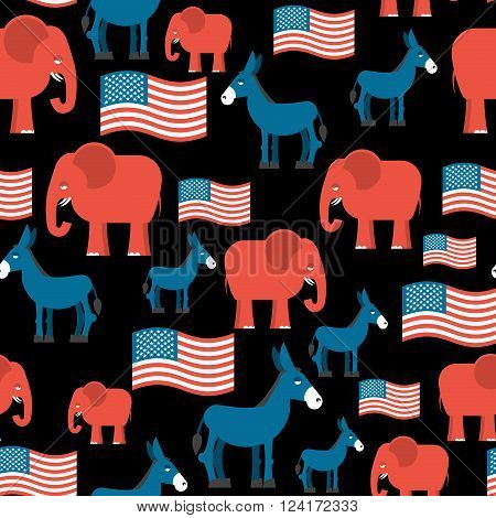 Elephant and Donkey seamless pattern. Symbols of. Texture for election and debate in America. Democrat donkey and Republican elephant and American flag. Political background. patriotic ormanent