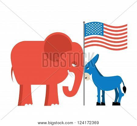 Donkey and elephant symbols of political parties in America. USA elections.  Opposition to American policy.