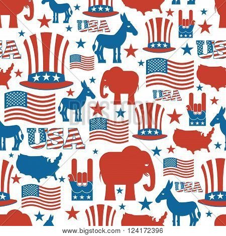 American seamless pattern. USA Election Symbols National pattern. Uncle Sam hat. American flag and map.  Donkey and Elephant. Patriotic background. USA Election texture.