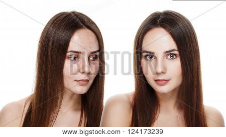 Beautiful Young Brunette Model Before And After Make-up Applying. Comparison Portrait. Two Faces Of