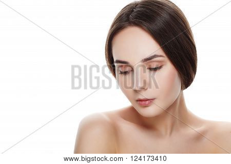 Beautiful Face Of Young Woman With Clean Fresh Skin. Portrait Woman With Beautiful Blue Eyes And Fac