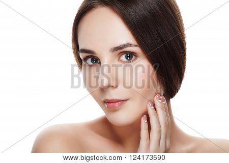 Closeup Beautiful Face Of Young Woman With Clean Fresh Skin. Portrait Woman Touch Her Face By Hands