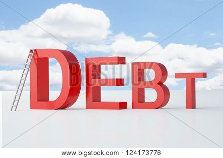 Debt clearing concept with ladder on sky background. 3D Rendering