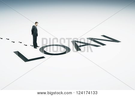 Loan concept with businessman looking into loan pit on light background. 3D Rendering
