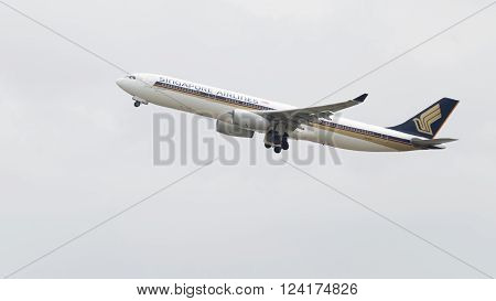 Sydney - February 26 2016: passenger plane Airbus A330-343 Singapore Airlines taking off at the airport in Sydney February 26 2016 Sydney Australia