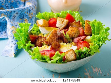 Cobb Salad with mayonnaise sauce . selective focus