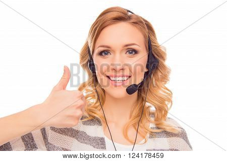 Cheerful Young Agent Of Call Center Showing Thumb Up