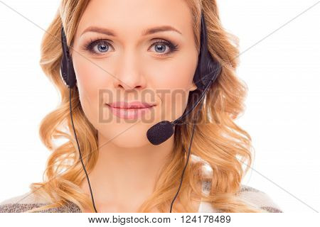 Close Up Portrait Of Young Pretty  Agent Of Call Center
