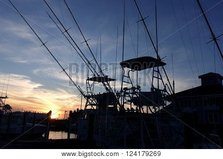 Masts of yachts parked in marina at dusk in Pirate's Cove Marina, Manteo, North Carolina criss cross the sky.