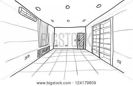 Simple Vector Sketch of Empty Room