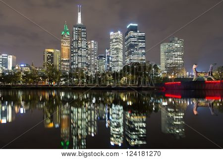 Melbourne, Australia - April 24, 2015: Skyline view over the Yarra River with reflections in the water.