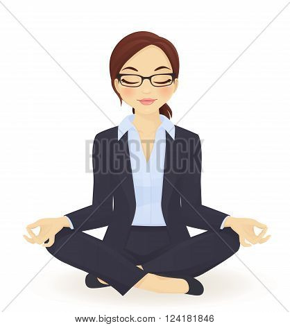 Young business woman in yoga lotus pose