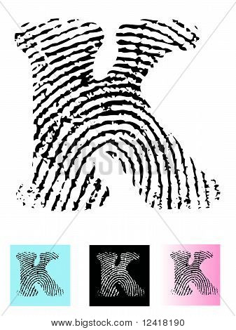Fingerprint Alphabet Letter K
