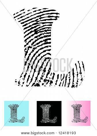 Fingerprint Alphabet Letter L