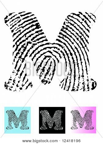 Fingerprint Alphabet Letter M.eps
