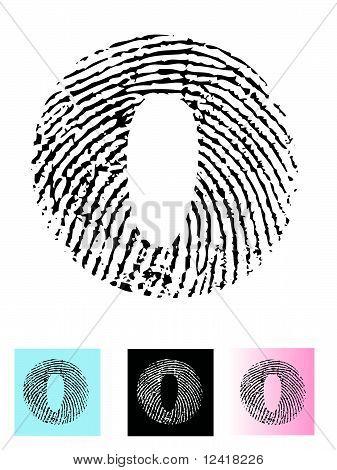 Fingerprint Alphabet Letter O