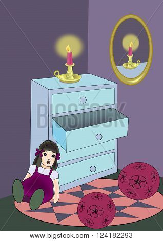 A blue dresser with a candle, a mirror on the wall and some toys.