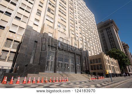 Rio de Janeiro, Brazil - March 21, 2016: Main building of the Regional Labour Court (Tribunal Regional do Trabalho) of the 1st. Region.