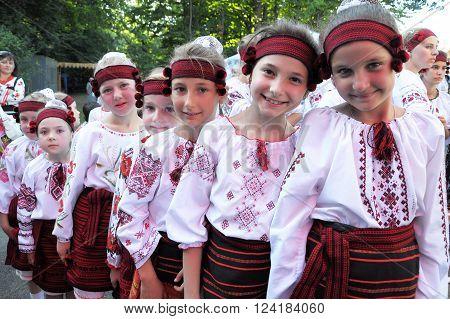 Monastyryska - Ternopil -UKRAINA - August 6 2011. In a traditional annual festival of Lemko culture ethnic Ukrainian guppy is happening in Monastyryska.