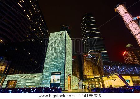 Shanghai, China - March 12, 2016: Exterior of a Louis Vuitton store in Nanjing road Shanghai . one of the largest store in China.It was founded in 1854, is the world's leading luxury brand.