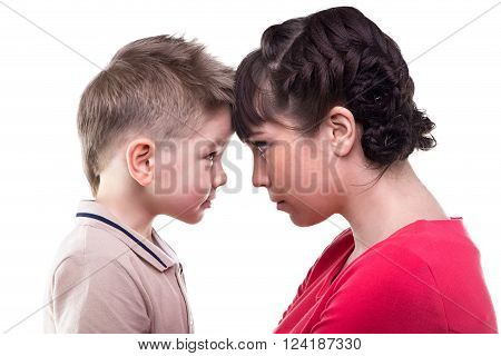 Brunette mother and blond son on white background