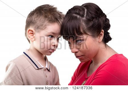Brunette mother and her child on white background