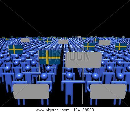 Crowd of people with signs and Swedish flags 3D illustration