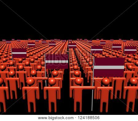 Crowd of abstract people with many Latvian flags 3D illustration