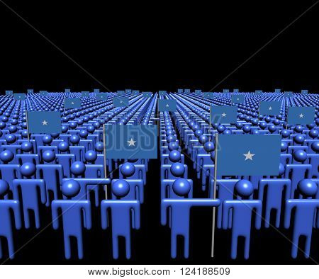 Crowd of abstract people with many Somalian flags 3D illustration