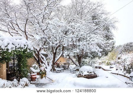 Courtyard in Sedona, Arizona in winter