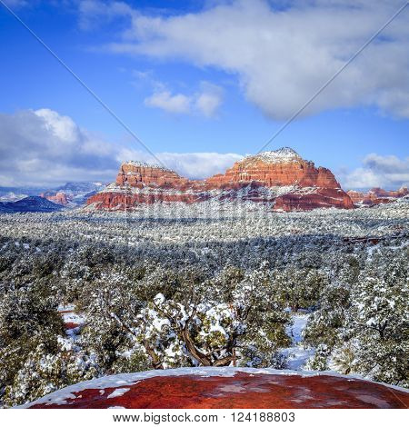Red Rocks in Sedona, Arizona after snow storm