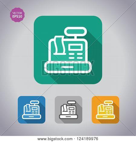Colorfoul Set Cash Register conceptual icon. Flat, vector illustration