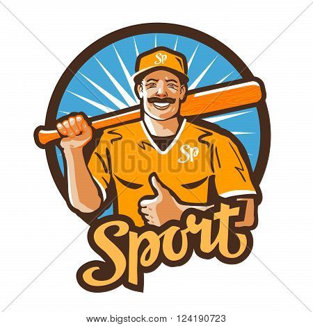 baseball player holding a baseball bat in his hand. vector illustration
