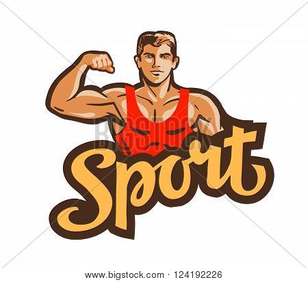 the athlete flexes the hand isolated on a white background. vector illustration
