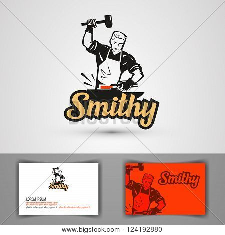 blacksmith with hammer in hand. vector illustration