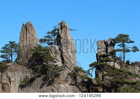 Huang shan, the yellow mountain , China's most beautiful mountain on a sunny day with deep blue sky and trees