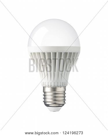 LED New technology light bulb isolated on white background Energy super saving electric lamp is good for environment. Realistic photo image with clipping path