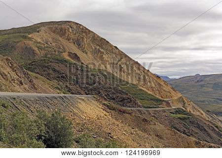 Dirt Road Through Rugged Polychrome Pass in Denali National Park in Alaska