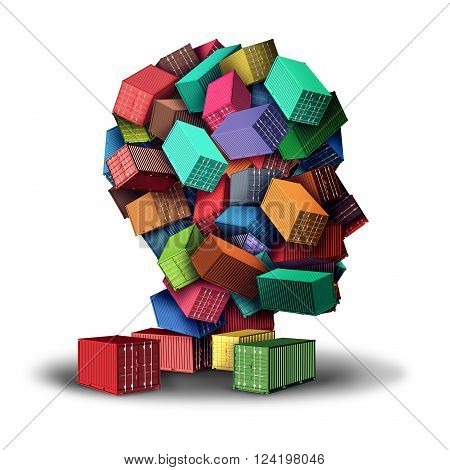 Cargo freight strategy 3D illustration concept and intelligent shipment symbol as a group of transport shipping containers stacked in the shape of a human head as an icon for planning of export and import distribution.