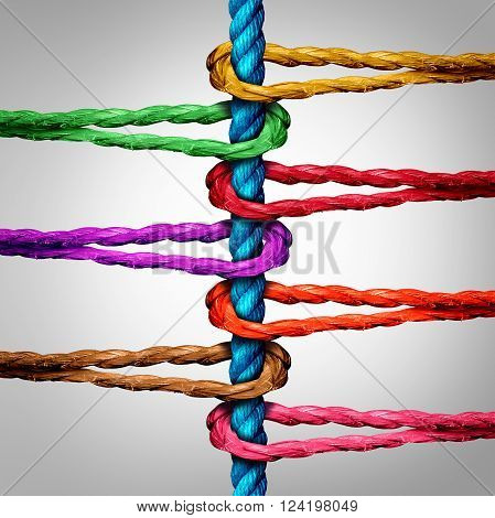 Central connection business concept as a group of diverse ropes connected to a central rope as a network metaphor for connectivity and linking to a centralized support structure.