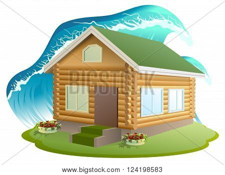 Property insurance. Wooden house was flooded with water. Flooding tsunami. Illustration in vector format